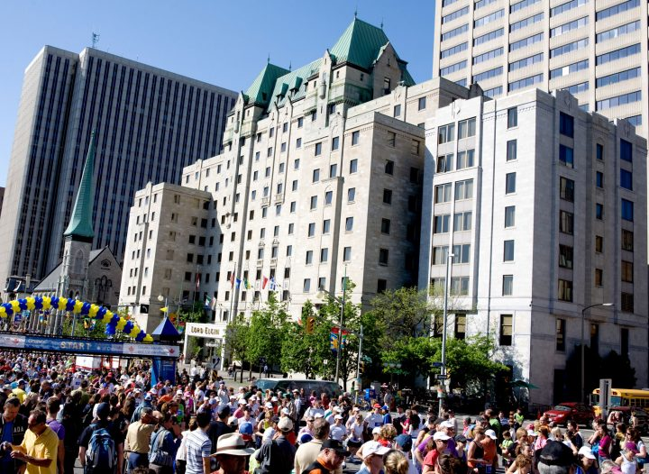 Ottawa Marathon - Race Weekend in May. Starting line is located just outside the doors of the Lord Elgin Hotel