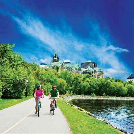Cycling in Ottawa near Lord Elgin Hotel