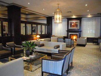 Elegantly decorated lobby at the Lord Elgin Hotel in downtown Ottawa