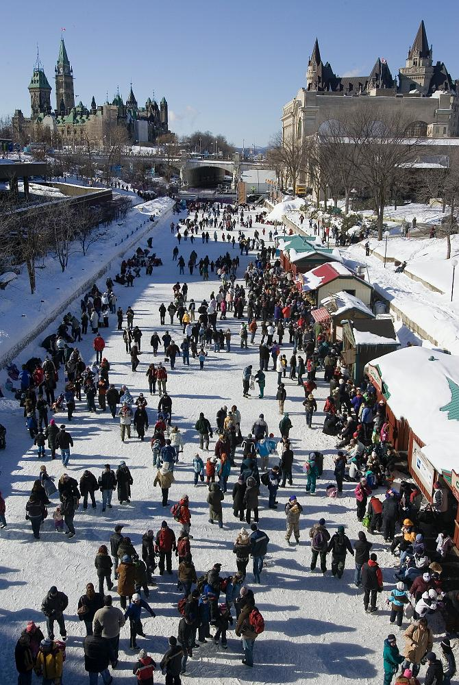 Rideau Canal at Winterlude on a beautiful winter day, just a two minute walk to the Lord Elgin Hotel