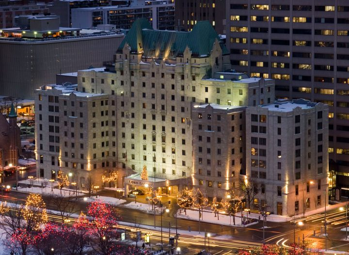 Lord Elgin Ottawa at Christmas time.  Festive lights line Elgin Street and illuminate the hotel