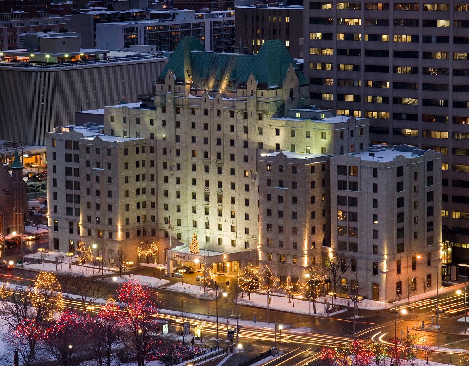 Lord Elgin Ottawa at Christmas time. Festive lights line Elgin Street and illuminate the hotel