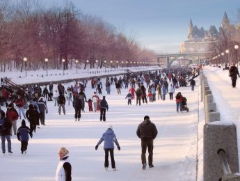 Winterlude Ottawa - Rideau Canal on a bustling weekend. Only a two minute walk from the Lord Elgin Hotel