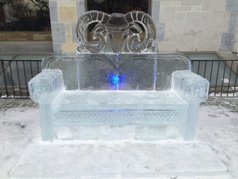 A unique ice bench in front of Lord Elgin Hotel that was carved by the award-winning team Sakha from Russia during Winterlude 2019