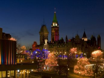 View of Parliament Hill from the Rideau Canal, just a two minute walk from the Lord Elgin. The holiday lights make it appear like a majic kingdom.