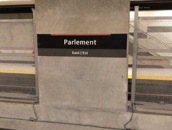 Downtown Ottawa Light Rail Train at Parliament Station