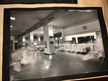 black and white Picture of the lord elgin's lobby when they first opened in 1941